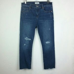 LOFT Distresed Modern Straight Jeans 10 Raw Hem